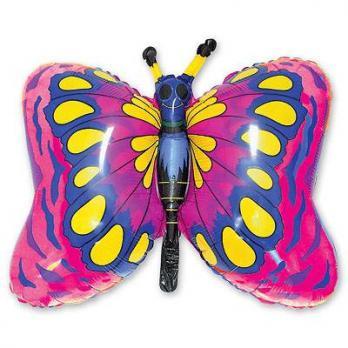 Шар фигура фольга Бабочка малиновая