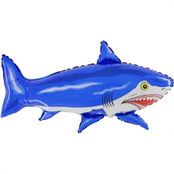 """Шар фигура фольга Акула большая синяя"""""""