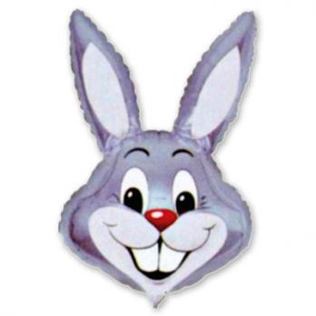 Шар фигура фольга Кролик серый