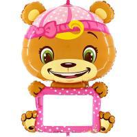 Шар открытка Мишка в розовом