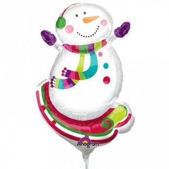 Шар на палочке Снеговик радостный