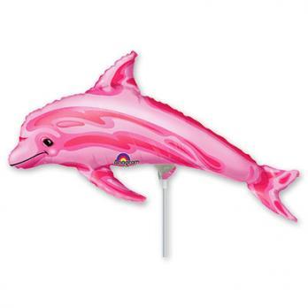 Шар на палочке Дельфин розовый