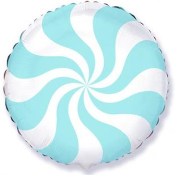 Шар круг фольга Конфета голубая пастель