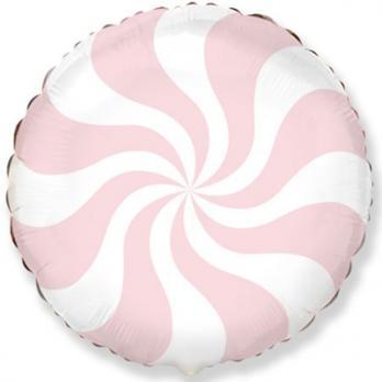 """Шар круг фольга """"Конфета розовая пастель"""""""