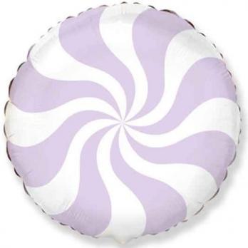 Шар круг фольга Конфета лиловая пастель