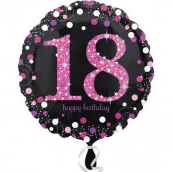 Шар круг фольга Happy Birthday 18 pink