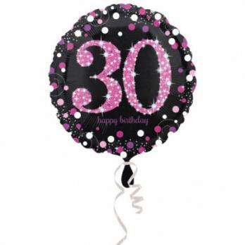 "Шар круг фольга ""Happy Birthday 30 pink """
