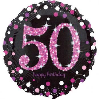 Шар круг фольга HAPPY Birthday 50 pink