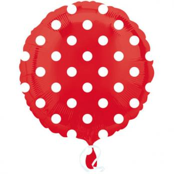 Шар круг фольга Горошек белый на красном
