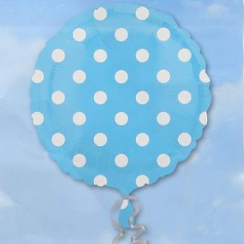 Шар круг фольга Горошек белый на голубом