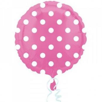 Шар круг фольга Горошек белый на розовом