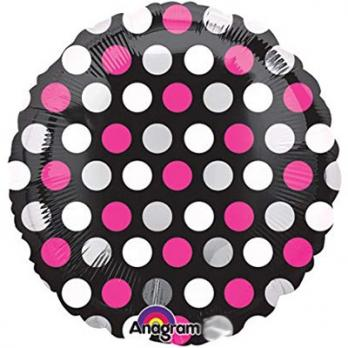 Шар круг фольга Горошек бело-розовый на черном