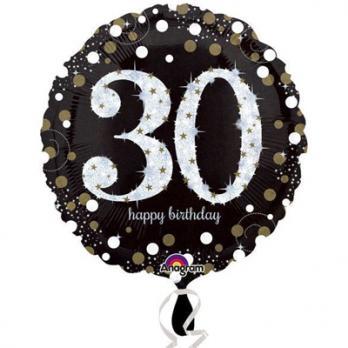Шар круг фольга Happy Birthday 30 gold