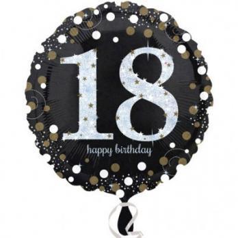 "Шар круг фольга ""Happy Birthday 18 gold """