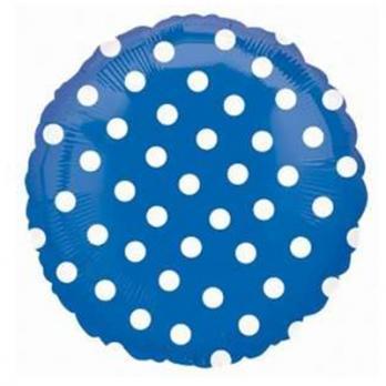 """Шар круг фольга """"Горошек белый на синем"""""""
