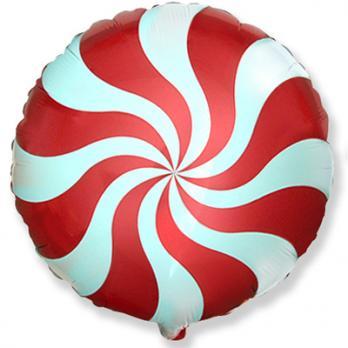 Шар круг фольга Конфета красная