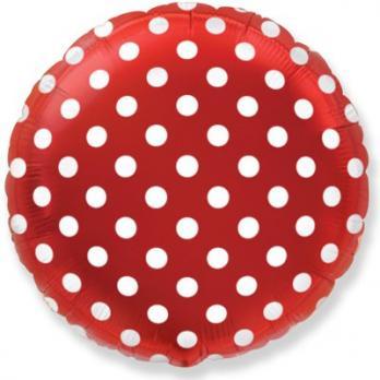 Шар круг фольга Горошек на красном