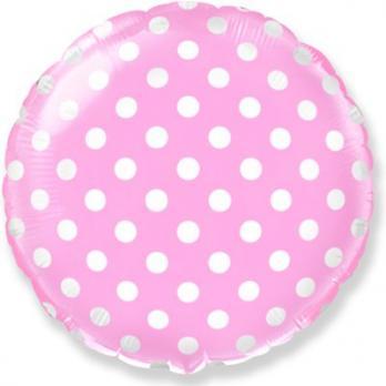 Шар круг фольга Горошек на розовом