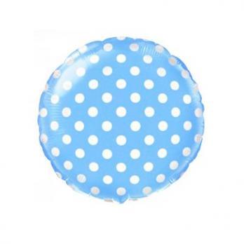Шар круг фольга Горошек на голубом