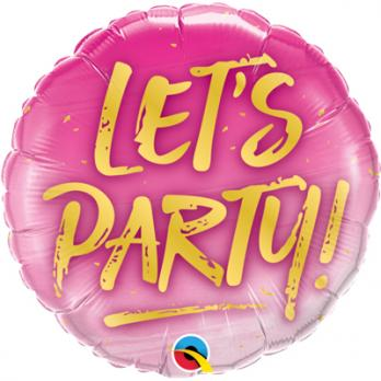 Шар круг фольга LET'S PARTY на розовом