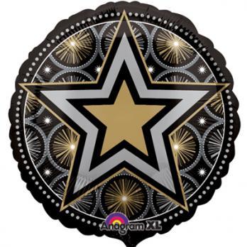 Шар круг фольга Звезда на черном блеск