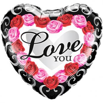 Шар круг фольга ILY Сердце Розы