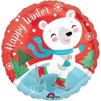 Шар круг фольга Happy Winter Мишка на коньках