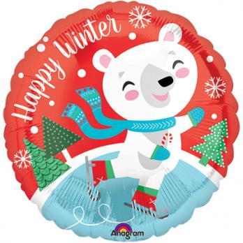 "Шар круг фольга ""Happy Winter Мишка на коньках"""