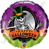 Шар круг фольга Хэллоуин Скелет в зеркале