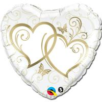 Шар сердце фольга Сердца переплетенные Gold