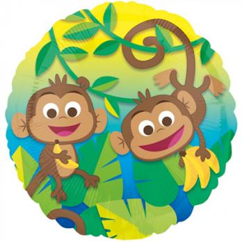 Шар круг фольга Обезьянки веселые с бананами
