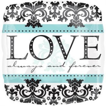 """Шар квадрат фольга """"LOVE ALWAYS&FOREVER орнамент"""""""