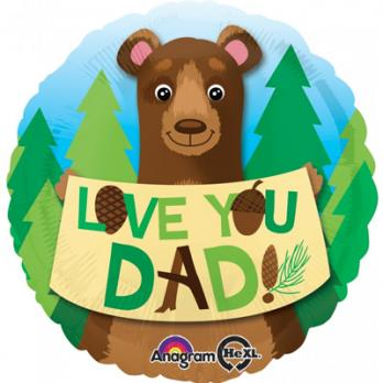 "Шар круг фольга ""LOVE YOU DAD Медведь"""
