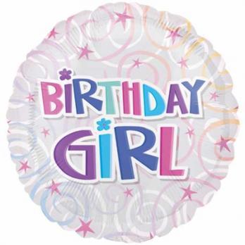 Шар круг фольга BIRTHDAY GIRL спирали