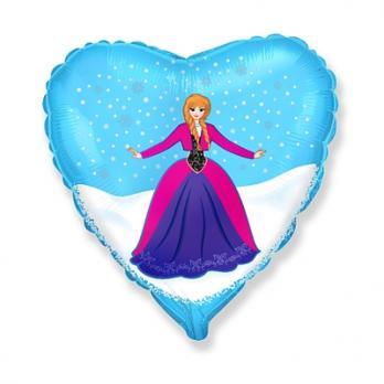 """Шар фольга """"Принцесса в голубом сердце"""""""