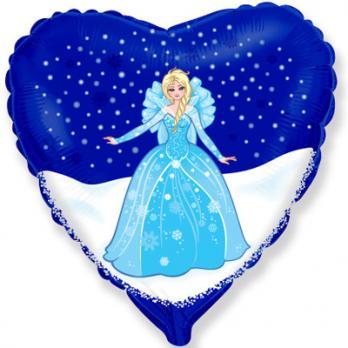 """Шар фольга """"Принцесса в синем сердце"""""""