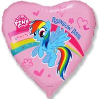 Шар сердце фольга Пони в сердечке