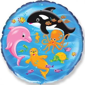 Шар круг фольга Морской мир