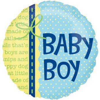 "Шар круг фольга ""BABY BOY/ Мальчик Малыш"""