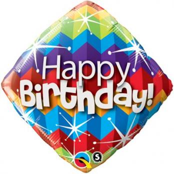 """Ромб """"Happy Birthday"""" с разноцветными зигзагами"""