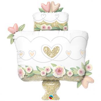 Шар фигура фольга Торт свадебный блеск