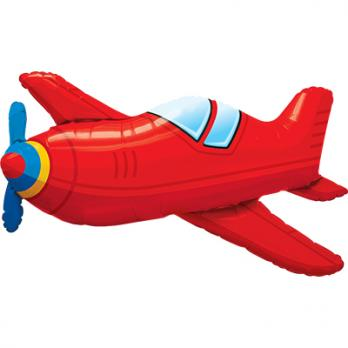 "Шар фигура фольга ""Самолет красный винтаж"""