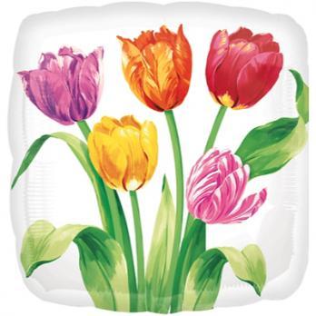 """Шар фигура фольга """"Тюльпаны на белом фоне"""""""