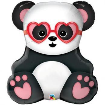 Шар фигура фольга Панда влюбленная