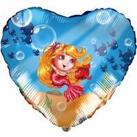 Шар сердце фольга Русалочка