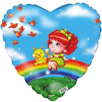 Шар сердце фольга Друзья на радуге