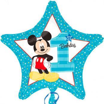 Шар звезда фольга Микки Маус 1-й День Рождения