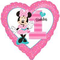 Шар сердце Минни Маус 1-й День Рождения