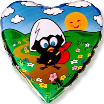 Шар сердце фольга Цыпленок путешественник