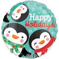 Шар круг фольга Три пингвина
